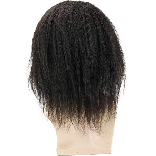 "Rossy&Nancy 12"" Long Kinky Straight Human Hair Replacement for Men Stock Toupee Mono Lace and PU Around with Swiss Lace Front 10""x8"" Base Size Natural Black Bolor"