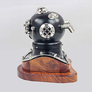 Scuba Diving Nautical Helmet | Maritime Ship's Decorative Helmet | Nagina International (18 Inches, Nickel Black On Base)