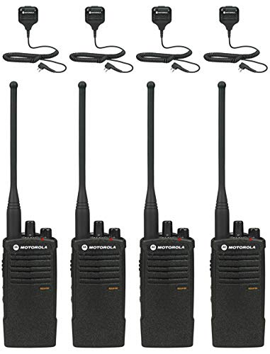 Motorola RDU4100 Business Two-Way Radios with HKLN4606 Speaker Mics 4-Pack