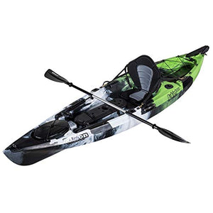 Elkton Outdoors Auklet Sit-On Top Fishing Kayak Auklet 100 Fishing Kayak with Smart Track Rudder Steering System, Aluminum Paddle, Rod Holders and Dry Storage Compartment