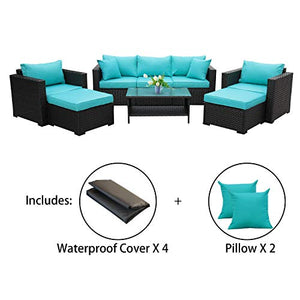 Patio Wicker Furniture Set 6 Piece Outdoor PE Rattan Conversation Couch Sectional Chair Sofa Set with Turquoise Cushion
