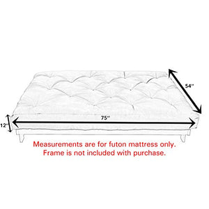 "Mozaic Full Size 12"" Thick Futon Mattress, Charcoal Grey"