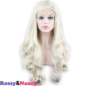 Rossy&Nancy Wave White Lace Front Wigs for Women Halloween Cosplay Wig Free Part 130% Density 22inch