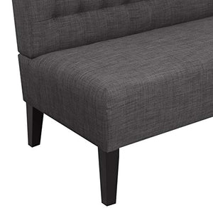 "Amazon Brand �Ravenna Home Rai Tufted Arched Armless Loveseat Bench Settee, 52""W, Dark Grey"