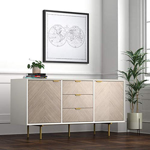 "Amazon Brand �Rivet Mid-Century Modern Wood Media TV Console Stand Table, 59""H, White & Gray"