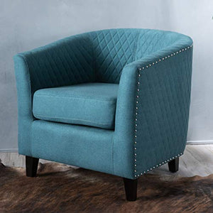 Christopher Knight Home Kasey Dark Teal Harlequin Pattern Fabric Club Chair
