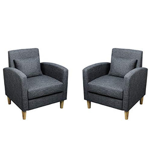 Modern Accent Chairs Set of 2 Fabric Armrest Chair Mid-Century Single Sofa Couch for Bedroom Living Reading Room (Grey Set)