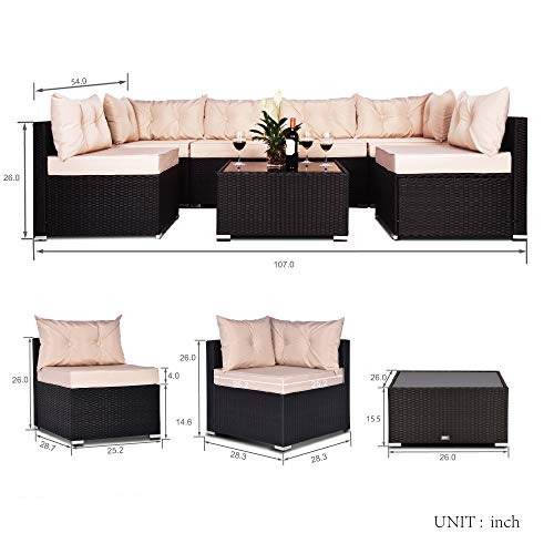 Amolife 7 Pieces Patio PE Rattan Sofa Set Outdoor Sectional Black Furniture Wicker Chair Conversation Set with Tan Cushions and Tea Table