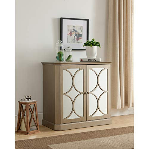 K and B Furniture Co Inc Gold-Tone Wood Mirrored Doors Console Table