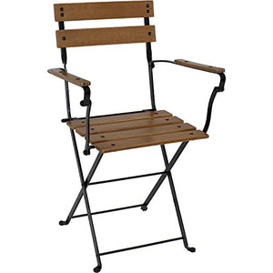 Sunnydaze Basic European Chestnut Wooden Folding Small Bistro Dining Armchair - Portable, Compact Side Chair - for Indoor or Outdoor Use - Patio, Deck, Balcony, Camping and Spare Seating - Set of 2