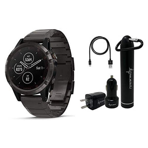 Garmin Fenix 5 Plus Premium Multisport GPS Watch with Maps, Music and Contactless Payments and Wearable4U Ultimate Power Pack Bundle (Sapphire/Titanium with Titanium Band)