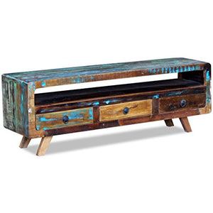 Festnight Vintege TV Cabinet Sideboard Table with 3 Storage Drawers Reclaimed Wood TV Stand Living Room Furniture
