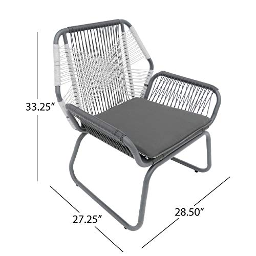 Christopher Knight Home 305086 Lydia Outdoor Wicker Club Chair (Set of 2), Gray/White/Gray