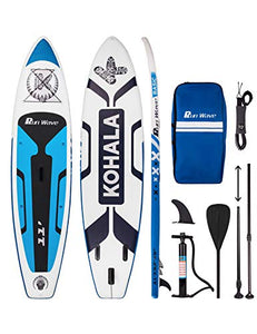 Runwave Inflatable Stand Up Paddle Board 11'×33''×6''(6'' Thick) Non-Slip Deck with Premium SUP Accessories | Wide Stance, Bottom Fins for Surfing Control | Youth Adults Beginner