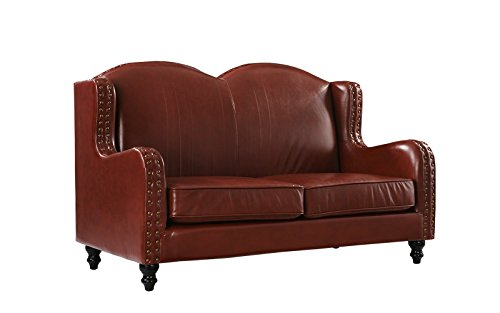 Divano Roma Furniture Leather Match Loveseat 2 Seater, Living Room Couch with Nailhead Trim (Light Brown)