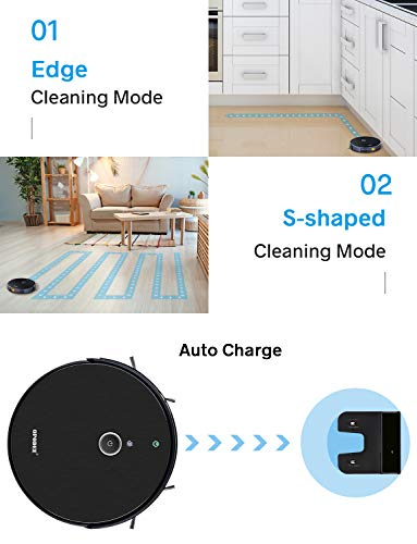Robotic Vacuum Cleaner, with 1800Pa Ultra Strong Suction, Robot Pet Hair Cleaning, Smart Navigation, 360° Sensor Protection, Self-Charging, Super Quiet, Ideal for Hard Floor, Mid-Pile Soft Carpets