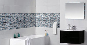Hominter 5-Sheets Teal Bathroom Backsplash Tile, Blue and Gray Glass Mosaic Accent Tile, Crystal and Marble Kitchen Wall Tiles, Random Interloking Patterns 9805