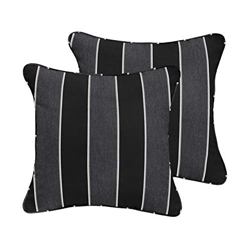 1101Design Sunbrella Peyton Granite Corded Decorative Indoor/Outdoor Square Throw Pillow, Perfect for Patio Decor - Black Grey Stripe with Silver Grey 24