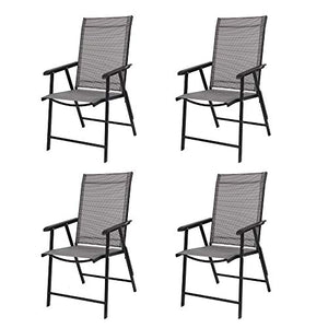 VINGLI Upgraded Set of 4 Folding Chairs with Arms, Portable Patio Chairs for Outdoor & Indoor, Sling Back Chairs for Lawn, Pool, Courtyard, Balcony & Garden (Grey)