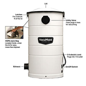 VacuMaid GV50WPRO Professional Wall Mounted Utility and Garage Vacuum with 50 ft Hose and Tools