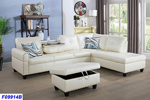 Beverly Fine Funiture Sectional Sofa Set With Drop Down Table. Cream White