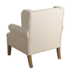 HomePop Emerson Wingback Accent Chair, Cream