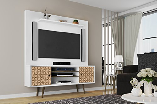 Manhattan Comfort Liberty Complete Living Room Entertainment Center And Tv Stand, White/3D Brown