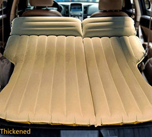 LUOOV Multifunctional Car SUV Air Mattress Camping Bed,Outdoor SUV Dedicated Mobile Cushion Extended Travel Mattress Air Bed Inflatable for SUV Back Seat,Fit 95% SUV with Pump (Yellow+Pump)
