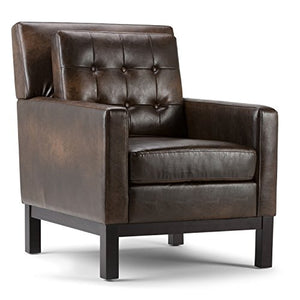 Simpli Home Carrigan 30 inch Wide Contemporary Club Chair in Distressed Brown Bonded Leather