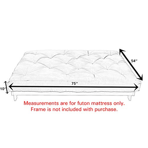 "Mozaic Full Size 10"" Thick Futon Mattress, Charcoal Grey"