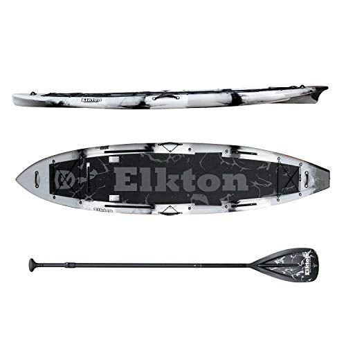 Elkton Outdoors Fishing Paddle Board - IBIS Pro 12 ft Hybrid Angler SUP Kayak Package, Ultra Durable Rotomolded Construction (Grey)