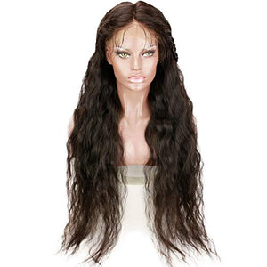 Rossy&Nancy 34inch Long 100% Brazilian Virgin Human Hair Full Lace Wigs for Black Women Long Natural Wavy Pre Plucked Glueless Human Hair Wigs with Baby Hair 130% Density Natural Black Color (34inch)