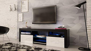 "MEBLE FURNITURE & RUGS Bari 160 Wall Mounted Floating 63"" TV Stand with 16 Color LEDs Black/White"