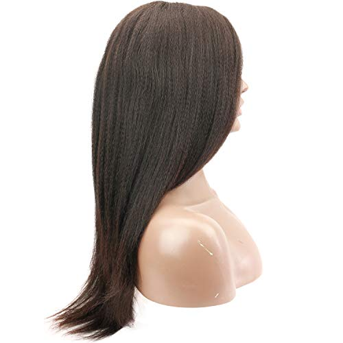 Rossy&Nancy Italian Yaki Left U Part Wigs Bralizian Human Hair Glusless Lace Front Wig 150% High Density for African American Black Women