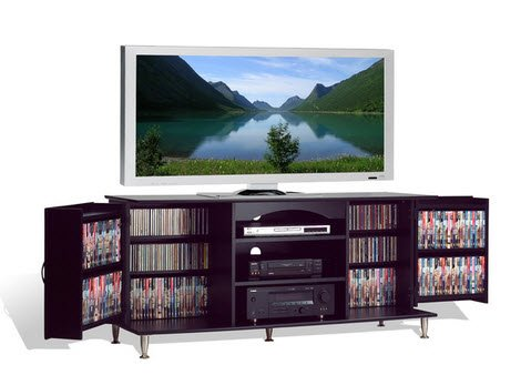 Broadway Black Large Flat Screen Plasma or LCD TV Stand Media Storage Cabinet Entertainment Center with Doors