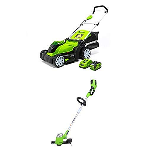 Greenworks 17-Inch 40V Cordless Lawn Mower with 13-Inch 40V Cordless String trimmer/Edger Battery Not Included 21332