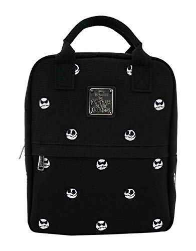 Loungefly x Nightmare Before Christmas Jack Skellington Embroidered Canvas Backpack (One Size, Black Multi)