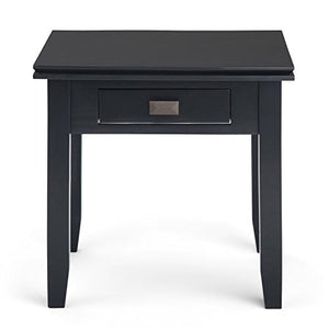 Simpli Home Artisan SOLID WOOD 21 inch wide Square Contemporary End Side Table in Black with Storage, 1 Drawer, for the Living Room and Bedroom