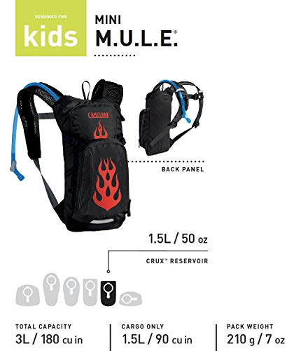 CamelBak Mini M.U.L.E. Kids Hydration Backpack for Hiking, 50 oz, Black/Flames