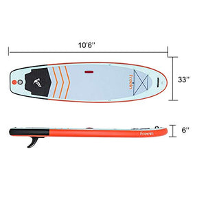 "Freein Yoga Inflatable Board Stand Up Paddle Board 10'6"" Long 33"" Wide 6"" Thick SUP Complete Package"