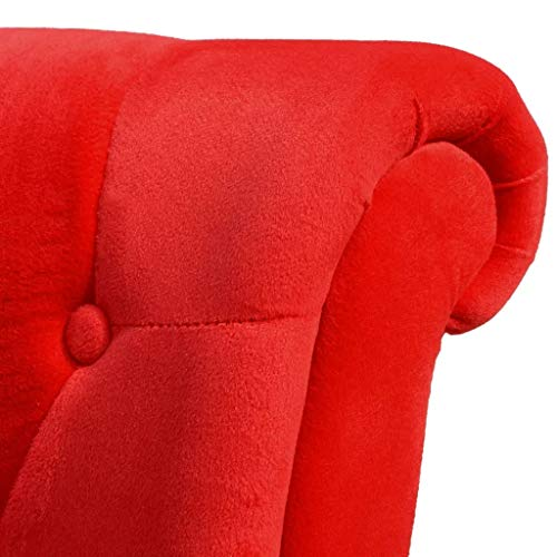 Accent Chair Tufted High Back Modern Living Room Chair Classic Cushioned Velvet,Red