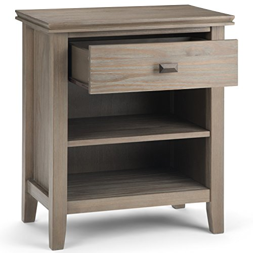 Simpli Home Artisan SOLID WOOD 24 inch Wide Contemporary Bedside Nightstand Table in Distressed Grey