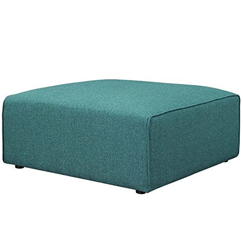 Modway Mingle Polyester Upholstered Generously Padded Ottoman, Blue Fabric