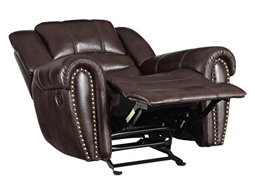 Homelegance Center Hill Glider Reclining Leather Gel Match Chair, Dark Brown