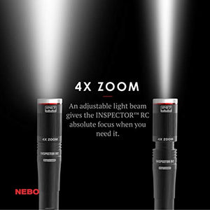 NEBO Rechargeable Pen Light Flashlight: 360-Lumens flash light, Features FLEX Power use AA batteries or included rechargeable battery, NEBO Inspector RC 6810 10-Pack