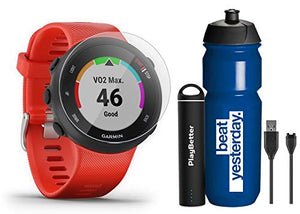 Garmin Forerunner 45 (Lava Red) Running GPS Watch Runner Bundle | +Garmin Water Bottle, HD Screen Protectors & PlayBetter Portable Charger | Garmin Coach, Heart Rate, Body Battery, Smart Notifications