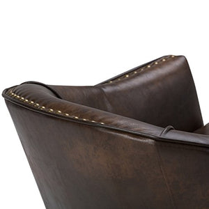 Simpli Home Kildare 29 inch Wide Transitional Tub Chair in Distressed Brown Bonded Leather