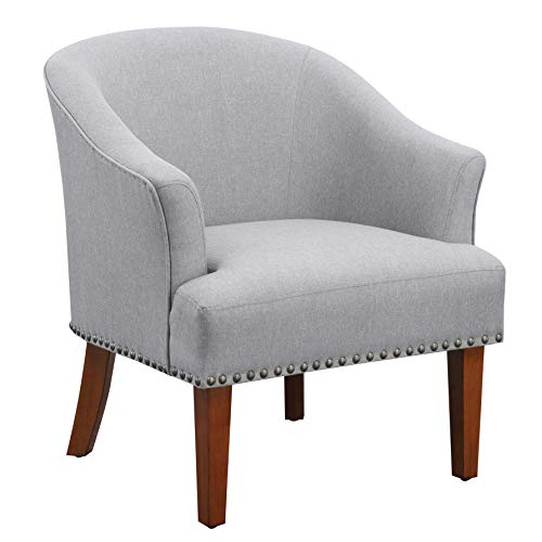 "Amazon Brand �Ravenna Home Ryleigh Rounded Mid-Century Barrel Accent Chair, 27.5""W, Grey"