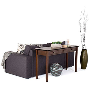 Simpli Home Artisan SOLID WOOD 54 inch Wide Contemporary Modern Wide Console Sofa Entryway Table in Medium Auburn Brown with Storage, 3 Drawers , for the Living Room, Entryway and Bedroom