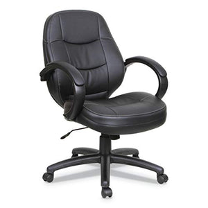 Alera ALEPF4219 PF Series Mid-Back Leather Office Chair, Black Leather, Black Frame